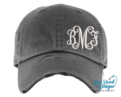 Monogrammed (Offset) Baseball Cap OR Ponytail Hat - Sew Vivid Designs