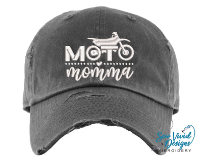 Moto Momma Hat | Baseball Cap OR Ponytail Hat - Sew Vivid Designs
