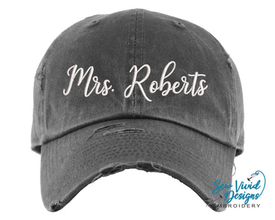 Mrs. Hat with Last Name | Baseball Cap OR Ponytail Hat - Sew Vivid Designs