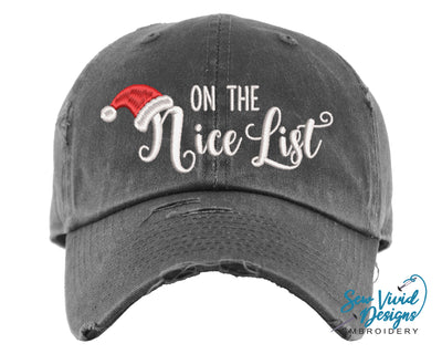 On the Nice List Baseball Cap OR Ponytail Hat - Sew Vivid Designs