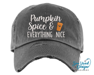 Pumpkin Spice and Everything Nice Hat | Baseball Cap OR Ponytail Hat - Sew Vivid Designs