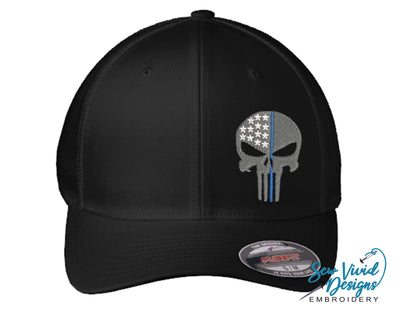 Thin Blue Line Punisher Skull FlexFit Hat - Sew Vivid Designs