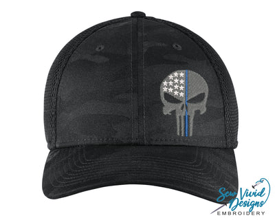 Thin Blue Line Punisher Skull New Era Hat - Sew Vivid Designs