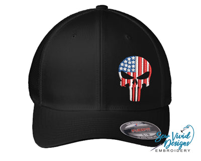 American Flag Punisher Skull FlexFit Hat - Sew Vivid Designs