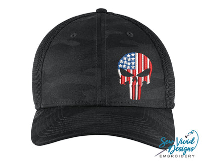 American Flag Punisher Skull New Era Hat - Sew Vivid Designs