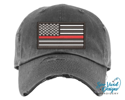 Thin Red Line Baseball Cap OR Ponytail Hat - Sew Vivid Designs