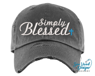 Simply Blessed Hat | Baseball Cap OR Ponytail Hat - Sew Vivid Designs