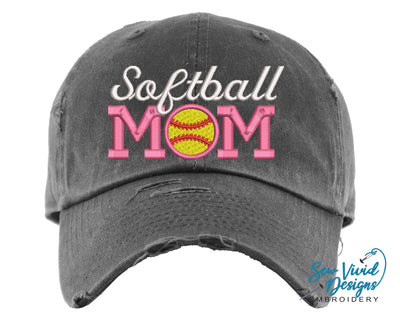 Softball Mom Hat | Baseball Cap OR Ponytail Hat - Sew Vivid Designs