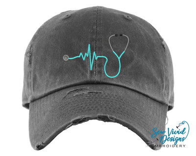 Stethoscope Hat | Baseball Cap OR Ponytail Hat - Sew Vivid Designs