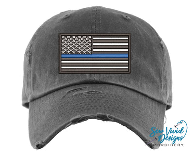 Thin Blue Line Baseball Cap OR Ponytail Hat - Sew Vivid Designs
