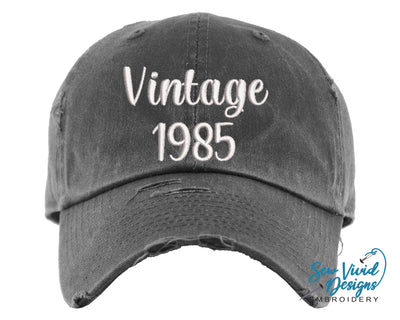 Vintage Birth Year Hat | Baseball Cap OR Ponytail Hat - Sew Vivid Designs