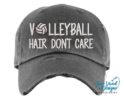 Volleyball Hair Don't Care Hat | Baseball Cap OR Ponytail Hat - Sew Vivid Designs