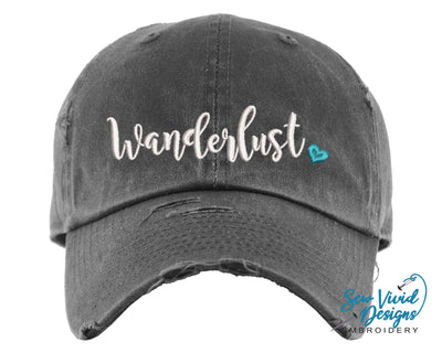 Wanderlust w/ Heart Baseball Cap OR Ponytail Hat - Sew Vivid Designs