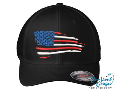 Waving American Flag FlexFit Hat - Sew Vivid Designs