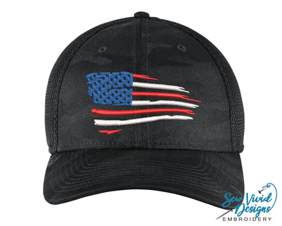 Waving American Flag New Era Hat - Sew Vivid Designs