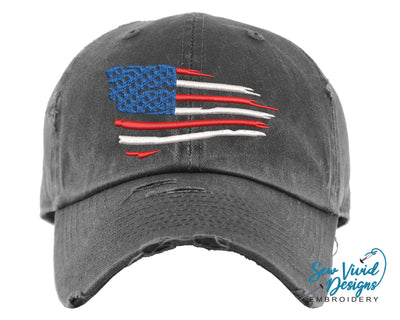 Waving American Flag Baseball Cap OR Ponytail Hat - Sew Vivid Designs