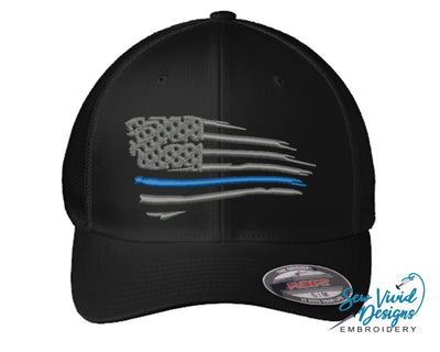 Waving Thin Blue Line Flag FlexFit Hat - Sew Vivid Designs