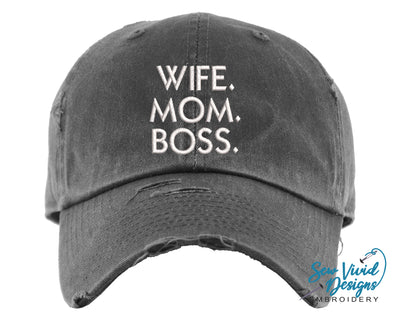 Wife. Mom. Boss Hat | Baseball Cap OR Ponytail Hat - Sew Vivid Designs
