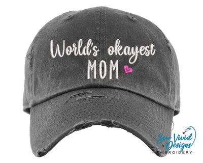 World's Okayest Mom Baseball Cap OR Ponytail Hat - Sew Vivid Designs