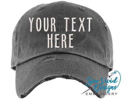 Custom Text Hat | Baseball Cap OR Ponytail Hat - Sew Vivid Designs