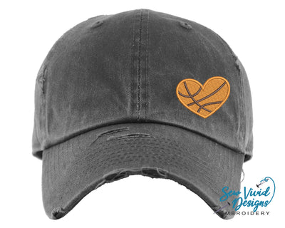 Basketball Heart Hat | Baseball Cap OR Ponytail Hat - Sew Vivid Designs
