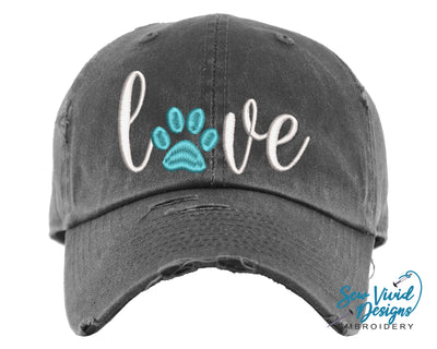 Love Paw Print Hat | Baseball Cap OR Ponytail Hat - Sew Vivid Designs