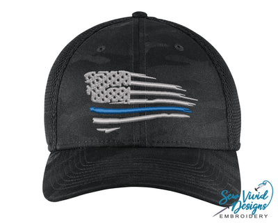 Waving Thin Blue Line Flag New Era Hat - Sew Vivid Designs