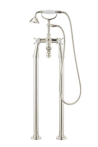 Traditional Bath Shower Mixer On Pipe Stands - Porcelain Levers