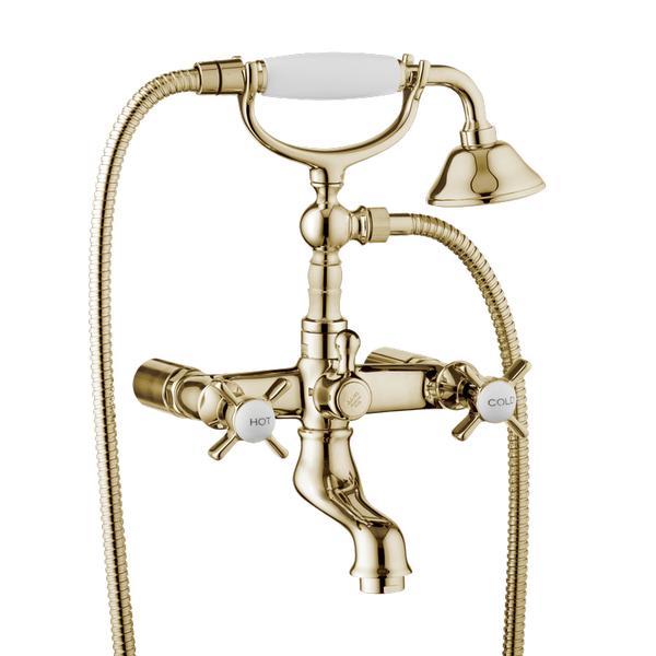 Traditional Bath Shower Mixer - Wall Mounted Cross Handles