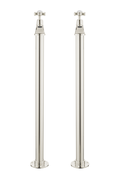 Vintage Bath Pillar Taps On Pipe Stands - Porcelain Levers