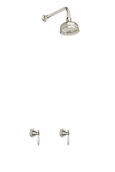 Heritage Bathroom Wall Tap Shower System - Porcelain Levers