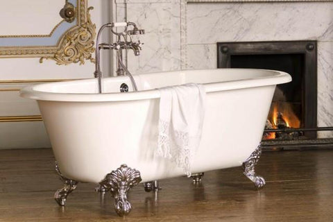 'Baroque' Double Ended Roll Top Cast Iron Bath / White /Chrome Feet