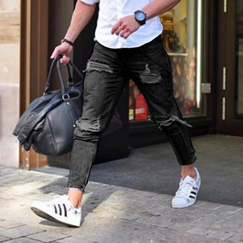 Trendy Skinny Jeans Light Black Shabby Feet Jeans