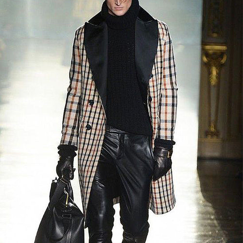 Modern Double-Breasted Large Lapel Plaid Coat