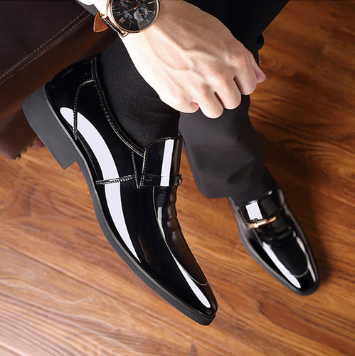 Pointed Bright Leather Patent Leather Business Casual Men's Leather Shoes