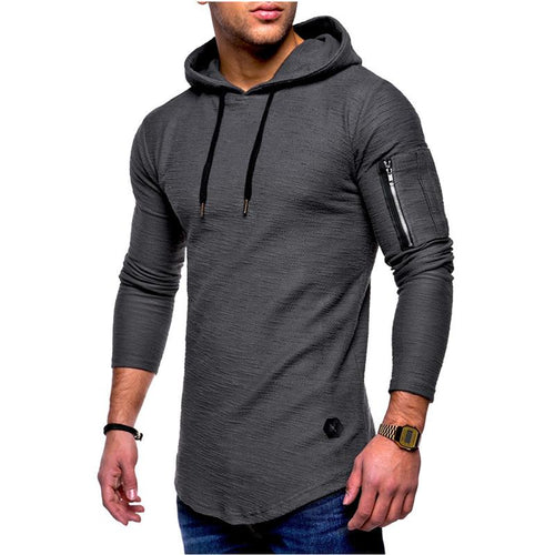 Solid Color Round Neck Hooded Long-Sleeved T-Shirt