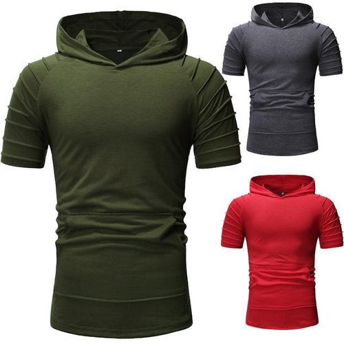 Men's Casual Slim Hooded Short Sleeve T-Shirt