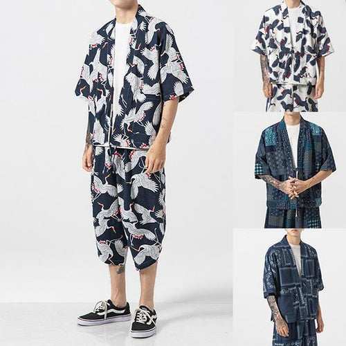Men's Casual Printed Halflong Sleeve Cardigan Two-Piece Set