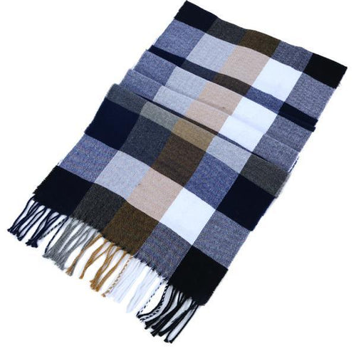 Autumn and winter England plaid imitation cashmere warm tassel men's scarf