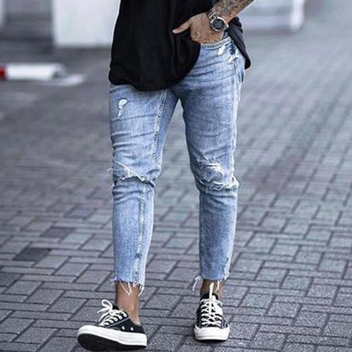 Fashion Broken Hole Washed Tight Fit Jeans Pants