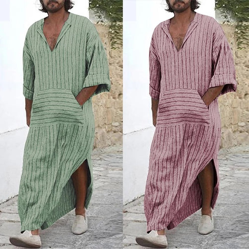 Men's Muslim Casual Loose Striped Long Sleeve Hooded Shirt Tops