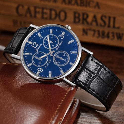 PU Leather Mens Quartz Watch;