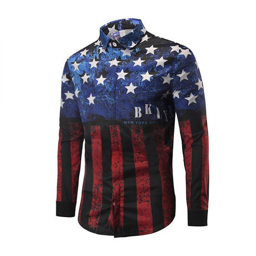 Prime Fashion Men's Shirt- Red&Blue Flag