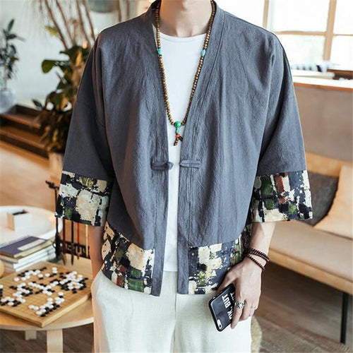 Fashion Youth Casual Linen Loose Print Medium Sleeve Cardigan Outerwear