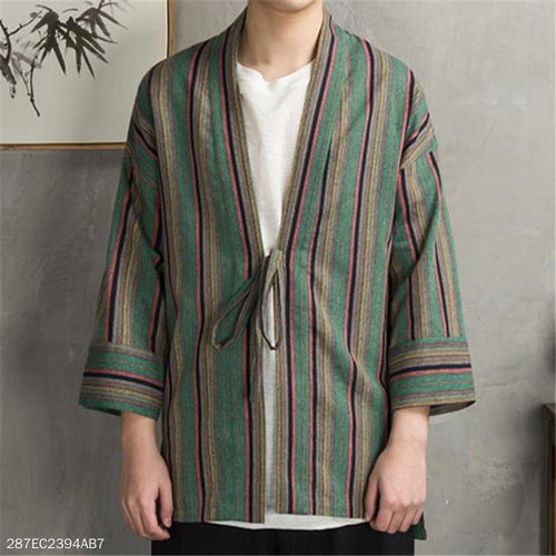Fashion Retro Casual Linen Loose Strip Long Sleeve Cardigan Outerwear