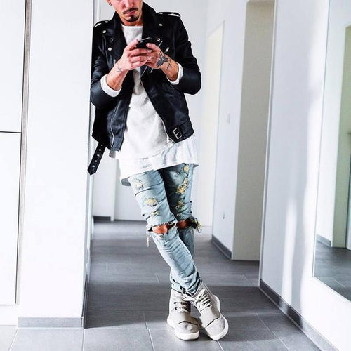 Cool Street Style Plain Hole Jeans Pants