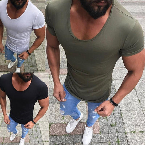 Casual Round Collar Plain Short Sleeves T Shirt