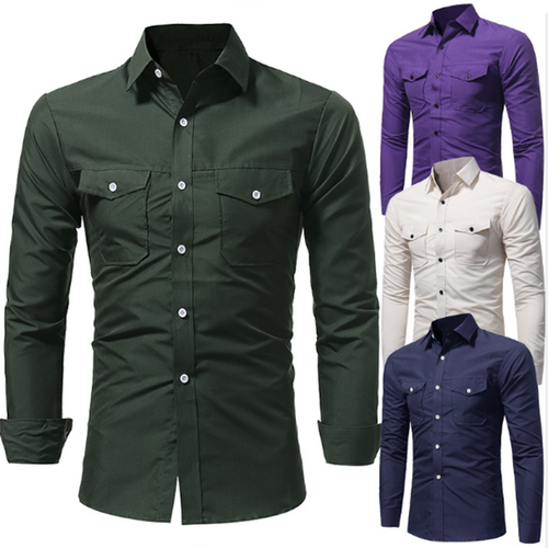Fashion Solid Color Slim Pocket Casual Shirt