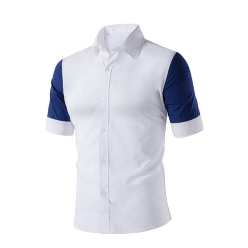 Casual Lapel Color Block Slim Short Sleeve Shirt