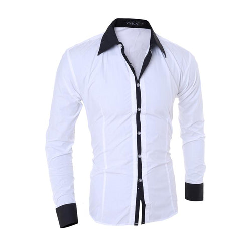 Casual Slim Plain Lapel Button Shirt